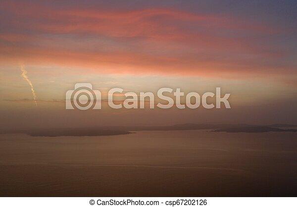 Beautiful sunset in winter drone photo - csp67202126