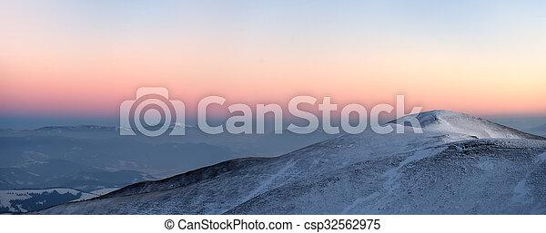 Beautiful sunset in winter mountain - csp32562975