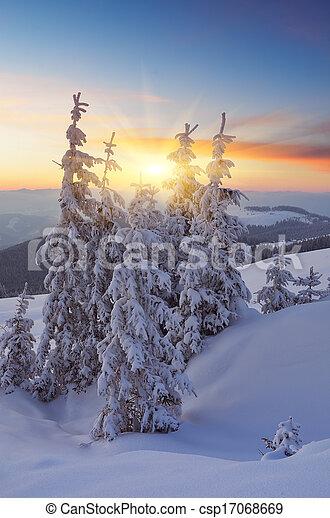 Beautiful sunset in winter - csp17068669