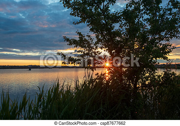 Beautiful sunset on the river, with a tree in the foreground, the setting sun in the form of an asterisk with rays - csp87677662