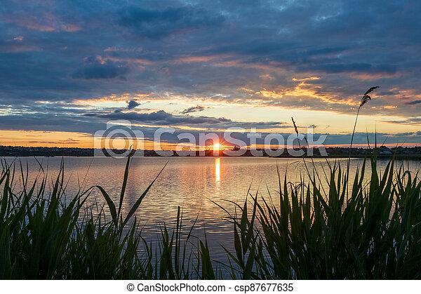 Beautiful sunset on the river, with reeds in the foreground, the setting sun in the form of an asterisk with rays and reflections - csp87677635