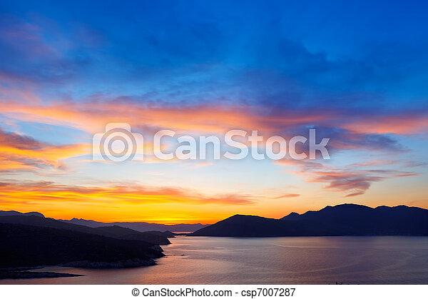Beautiful sunset over Aegean sea - csp7007287