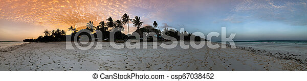 Beautiful sunset over beach in Kenya - csp67038452