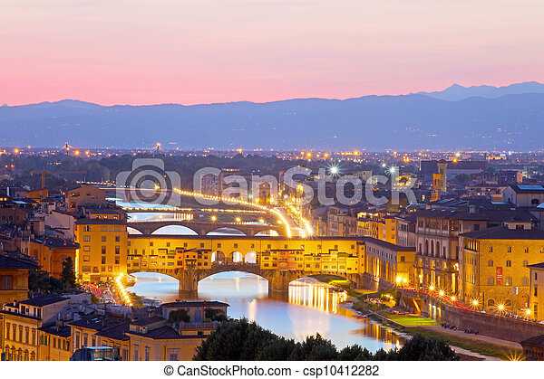Beautiful sunset over river Arno in Florence, Italy - csp10412282