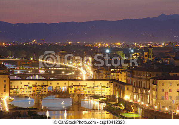 Beautiful sunset over river Arno in Florence, Italy - csp10412328