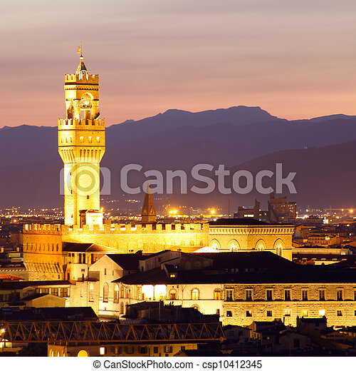 Beautiful sunset over river Arno in Florence, Italy - csp10412345