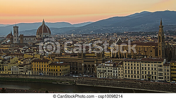 Beautiful sunset over the river Arno in Florence, Italy, - csp10098214