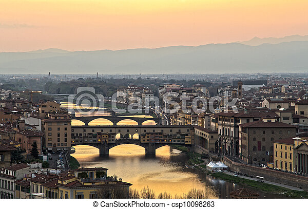 Beautiful sunset over the river Arno in Florence, Italy, - csp10098263