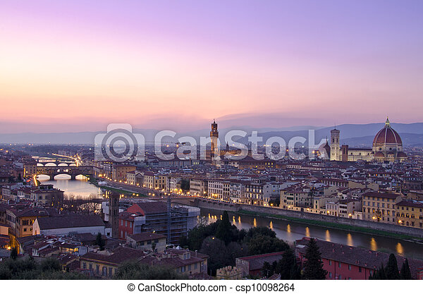 Beautiful sunset over the river Arno in Florence, Italy, - csp10098264