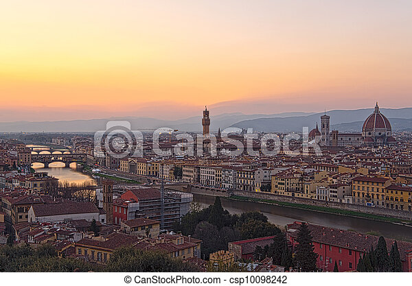 Beautiful sunset over the river Arno in Florence, Italy, - csp10098242