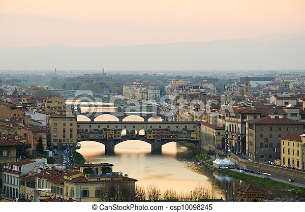 Beautiful sunset over the river Arno in Florence, Italy, - csp10098245