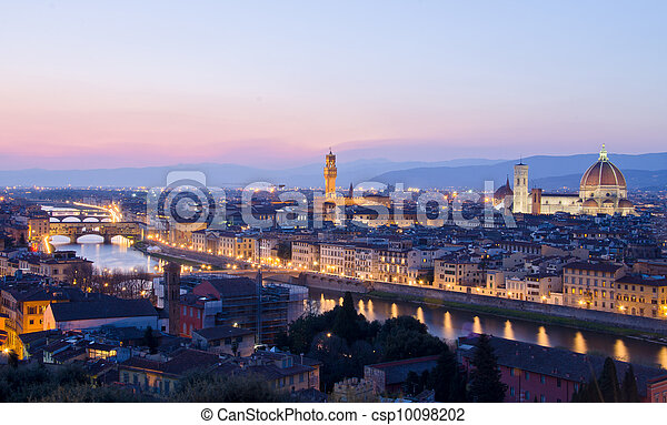 Beautiful sunset over the river Arno in Florence, Italy, - csp10098202
