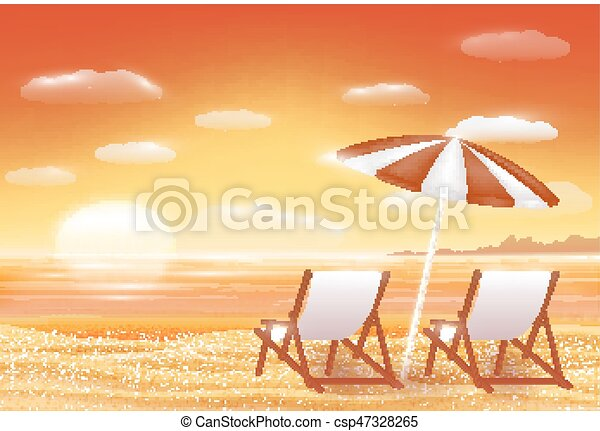 Beautiful Sunset Sea Sand Beach Scene With Chair Vector