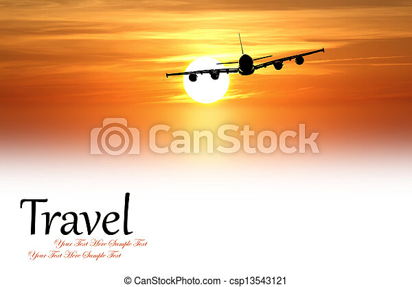 Beautiful sunset with airplane isolated on white - csp13543121