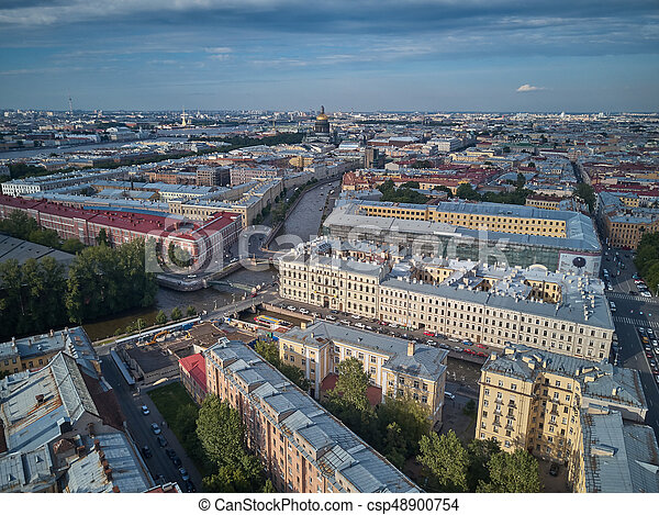 Beautiful super-wide angle aerial view of Kolomna district and St. Isaac cathedral, Saint-Petersburg, Russia. - csp48900754