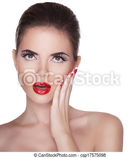 Beautiful surprised woman with red lips isolated on white background - csp17575098