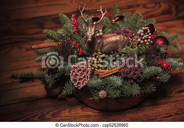 beautiful table decoration for christmas - csp52538965