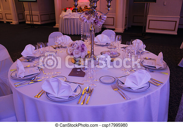 Beautiful table set for wedding - csp17995980
