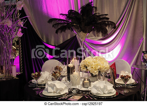 Beautiful table set for wedding - csp12925197