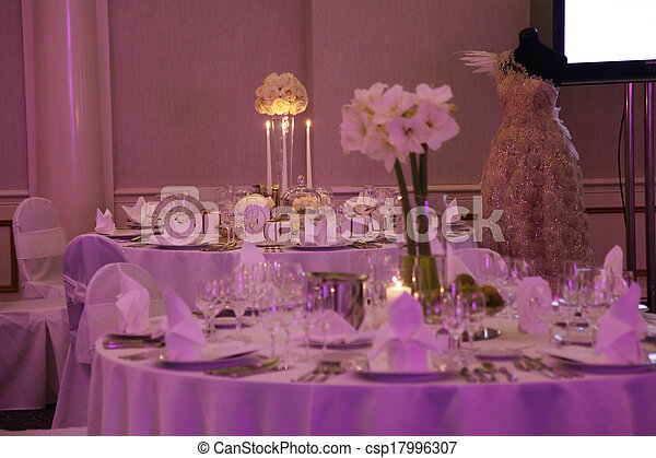 Beautiful table set for wedding - csp17996307