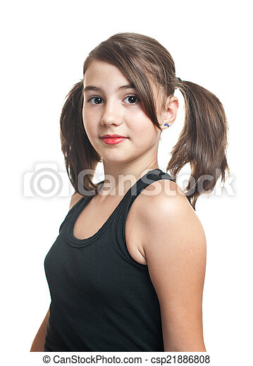 Teen girl with pigtails
