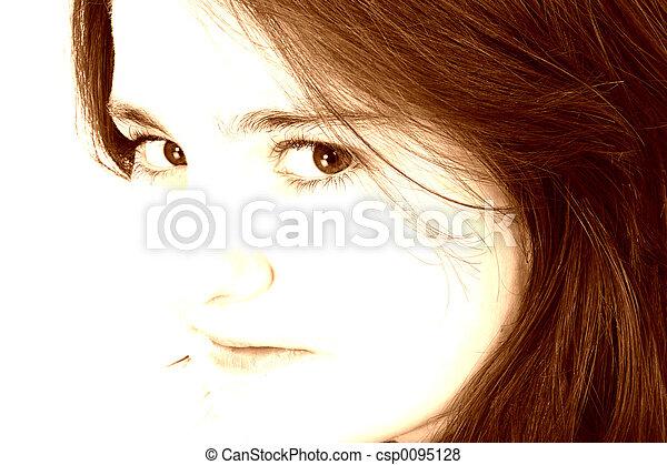 Beautiful Teen Girl In Brown Tones - csp0095128