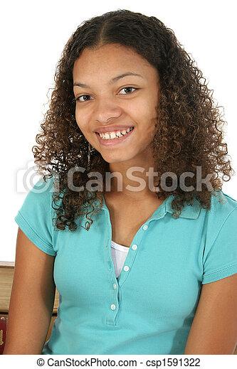 Beautiful Teen Girl Smiling - csp1591322