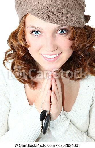 Beautiful Teen Girl with Car Keys - csp2624667