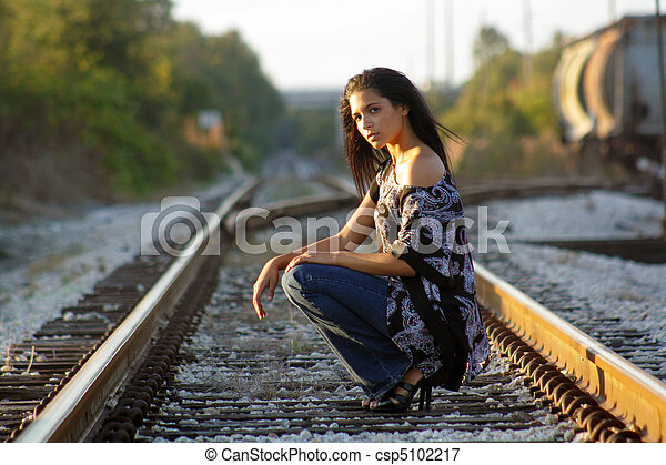 girl railroad tracks on Teen