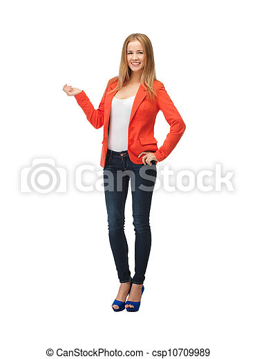 beautiful teenage girl in casual clothes - csp10709989