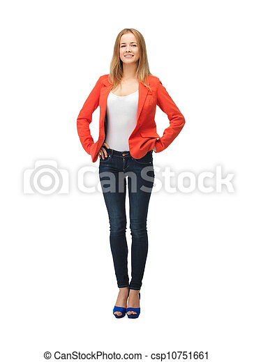 beautiful teenage girl in casual clothes - csp10751661