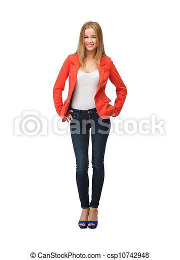 beautiful teenage girl in casual clothes - csp10742948