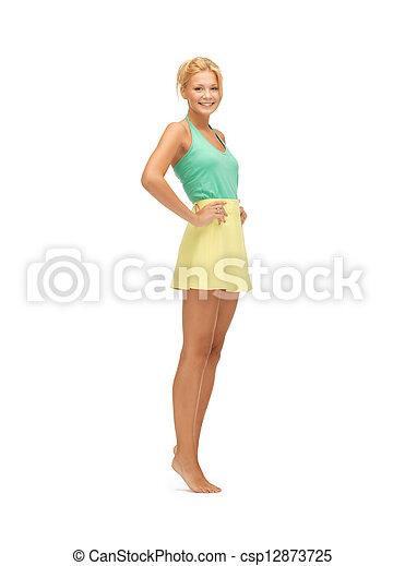 beautiful teenage girl in casual clothes - csp12873725