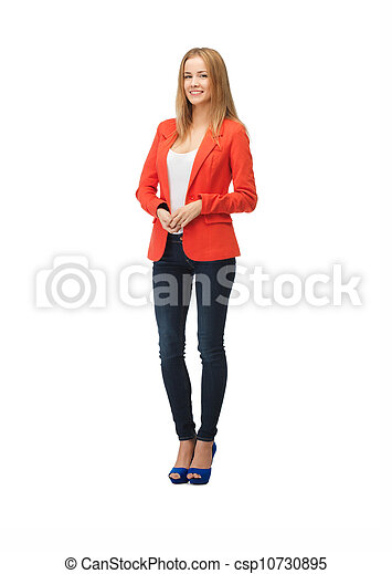beautiful teenage girl in casual clothes - csp10730895