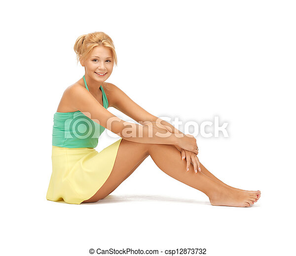 beautiful teenage girl in casual clothes - csp12873732
