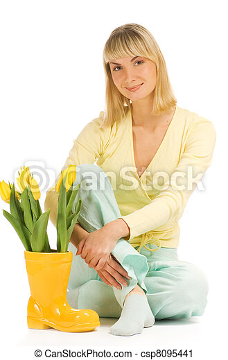 Beautiful teenage woman isolated on white background - csp8095441