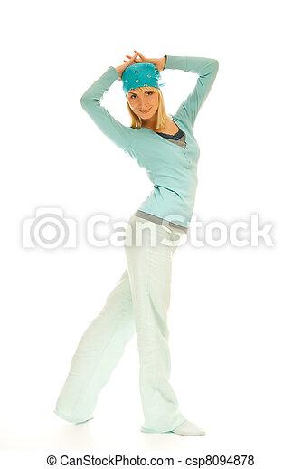 Beautiful teenage woman isolated on white background - csp8094878