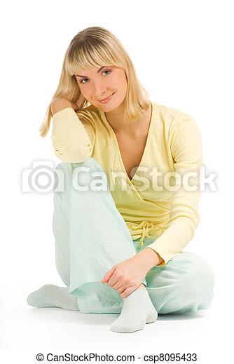Beautiful teenage woman isolated on white background - csp8095433