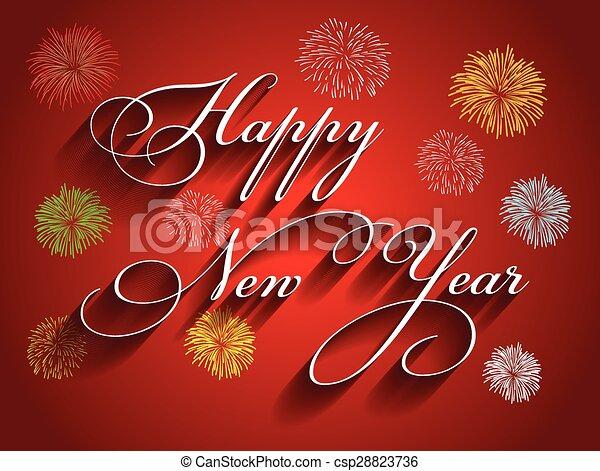 beautiful text happy new year 2016 csp28823736