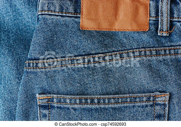 Beautiful textile blue jeans with pocket close up - csp74592693