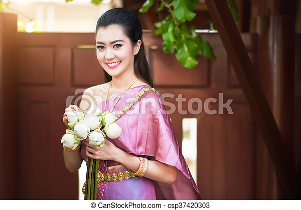 Beautiful Thai Girl In Traditional Costume