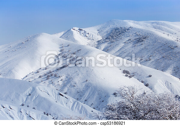 beautiful Tien-Shan mountains in the snow. in winter - csp53186921