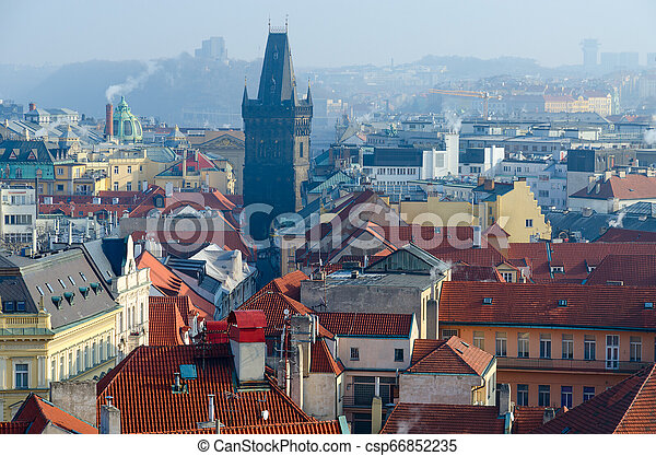 Beautiful top view of medieval Powder Tower in historical center of Prague, Czech Republic - csp66852235