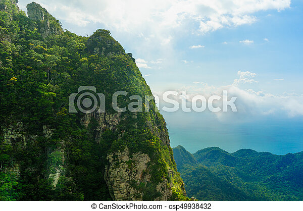 Beautiful tree covered mountains in Langkawi with fog rolling - csp49938432
