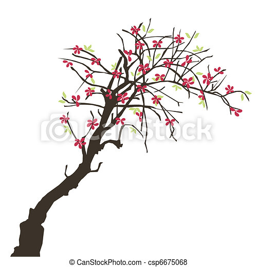 beautiful tree with flowers - csp6675068