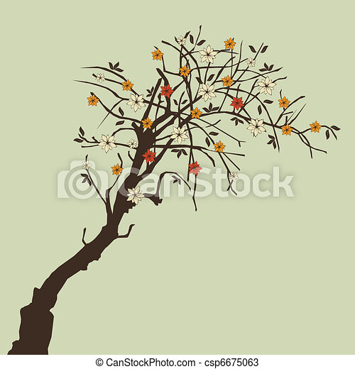 beautiful tree with flowers - csp6675063