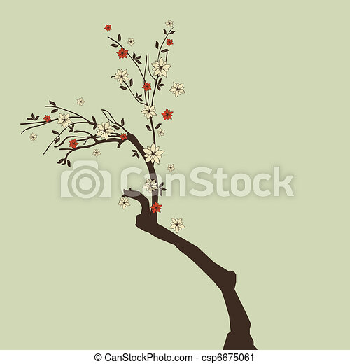 beautiful tree with flowers - csp6675061