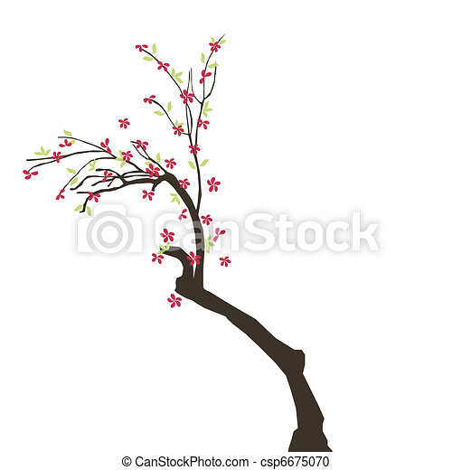 beautiful tree with flowers - csp6675070