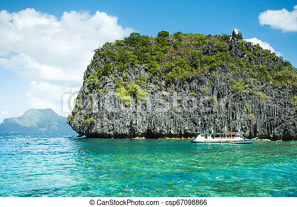 Beautiful Tropical Blue Lagoon Scenic Landscape With Sea Bay And Mountain Islands El Nido Palawan Philippines
