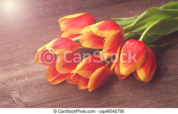 Beautiful tulips on wooden background - csp46342756